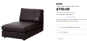 $200 FOR 90% NEW OF KIVIK CHAISE, GRAY LETHER