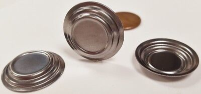 Vintage Stamping Setting - 12 VINTAGE STEEL RAISED STEP DECO ROUND 24mm SILVER STAMPING SETTING FINDING N72
