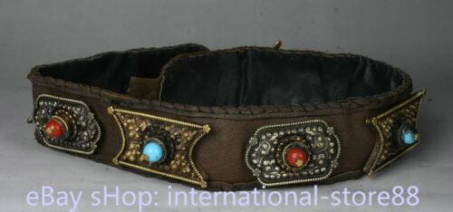 40.8 inch Old Tibetan Cowhide Copper Gem Minority Nationality Waistband Belt