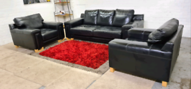 ScS - Black Leather 3 Seater & 2 Armchairs