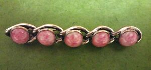 Vintage 1970s? Interesting Linear Pin with Pink Fleck Stones