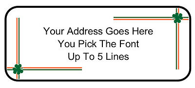 60 Custom Personalized Irish Shamrock Border Return Address Mailing Labels