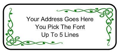 60 Custom Personalized Irish Vine Knot Shamrock Return Address Mailing Labels