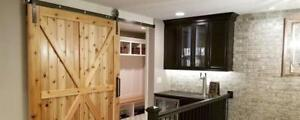 Custom Barn Doors - Width from 2-6 Height 6-9 in 48 Styles ( Optional Hardware & Handles )
