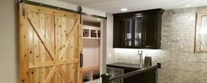 Custom Barn Doors - Width from 2-6' Height 6-9' in 48 Styles ( Optional Hardware & Handles )