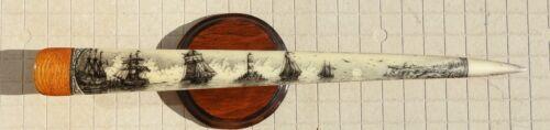 SWORDFISH  BILL SCRIMSHAW  PEN-AND-INK  K. HENRY  SHIP  SWORD  WHALE