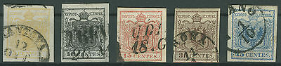 Österreich Lombardei & Venetien Mi.Nr. 1-5 X gestempelt Mi.Wert 200€ (1218)