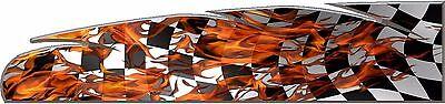 Checkered racing flag flame go kart race car vinyl graphic decal wrap ()