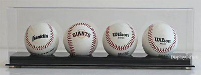 4 Baseball Holder Display Case Stand With Acrylic Cover, UV Protection, (Acrylic Baseball Display Cases)