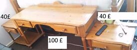 pine desk and bedsides chest
