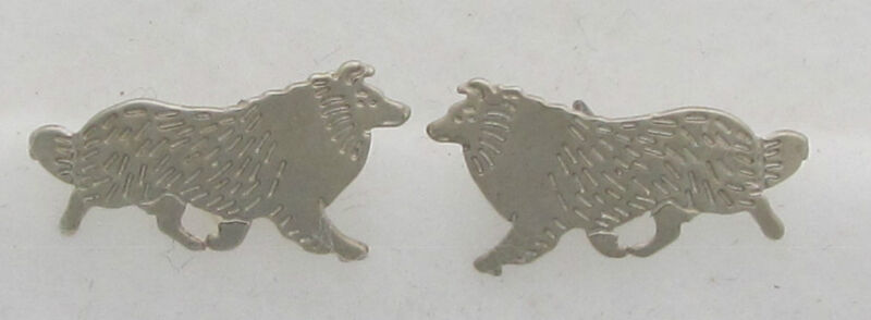 Shetland Sheepdog Jewelry Silver Dog Only Post Earrings