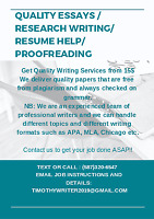 QUALITY ESSAYS / RESEARCH WRITING/ RESUME HELP/ PROOFREADING