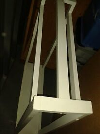 White wooden towel stand
