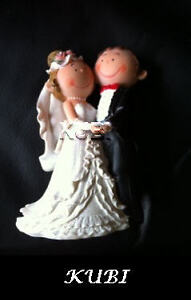 Wedding Cake Topper Bride and Groom 14cm Tall - Wedding Decoration Holding Hands