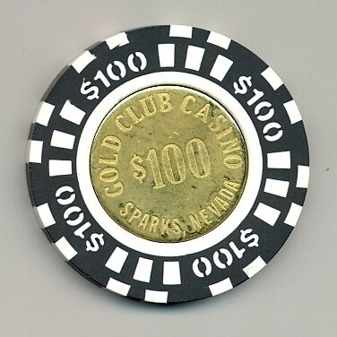 $100 GOLD CLUB CASINO POKER CHIP