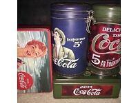 Vintage style Coca-Cola tins