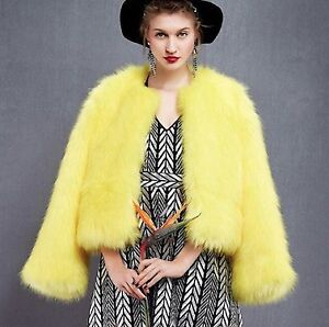 ELECTRIC YELLOW FAUX FUR COAT