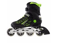No Fear Alloy Mens Fit Inline Skates Rollers Skate Boots + helmet + no fear skate protection pack