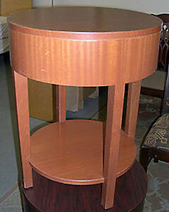 cherry finish side table, solid-base side table