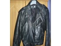 Black leather motorcycle jacket size 48