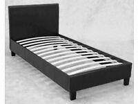 Black leather single bed frame
