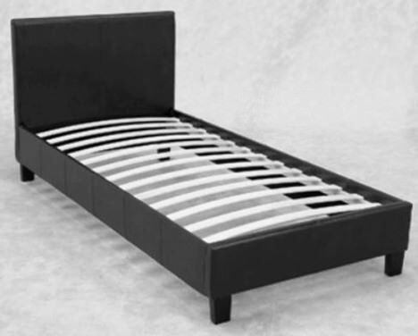 Dark Brown Faux Leather Single Bed Frame Only In Chertsey Surrey