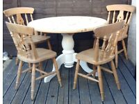 Round solid pine table & chairs