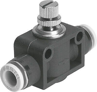 Festo, GR-QB-5/32-U, Inline Flow Control, 5/32 Tubing Connections, 534680