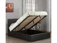 BRAND NEW IN BOX- DOUBLE GAS LIFT UP DOUBLE OTTOMAN STORAGE BED FRAME ( BLACK,BROWN & WHITE )