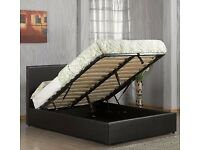 Black / Brown- DOUBLE GAS LIFT UP DOUBLE OTTOMAN STORAGE BED FRAME ( BLACK,BROWN & WHITE )