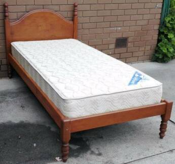 2xsolid timber single bed frame with mattress, $140each