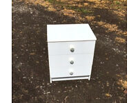 white bedside chest