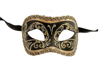 Mask from Venice Wolf Colombine Black Golden Authentic Paper Mache 205
