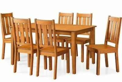 7 Pc Honey Dining Room Set Wood Kitchen Dinette Sets Table & 6 Chairs Furniture