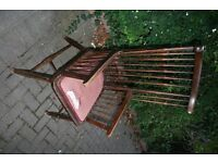 Victorian or early 20th Century spindle backed hard wood arm chair
