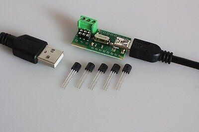 USB Temperatur Sensor Tester + 5 x DS18B20 Thermometer Temperaturfühler
