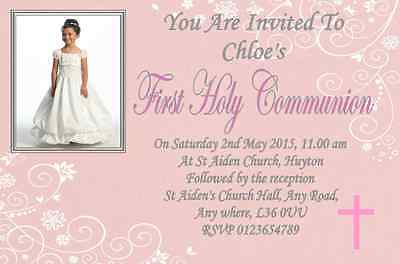 10 Personalised First , 1st Holy Communion Invitations / Invite With Photo - First Communion Photo Invitations