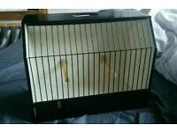 New Wooden Display Show Small Bird Cage with Perches Handle Exhibition Training