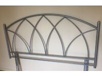 King Size Bed, Silver Metal Gothic Headboard