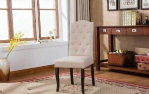 Tufted back dining chair in beige linen fabric / Brand New