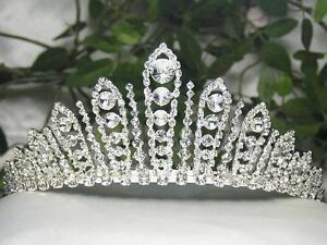 QUEEN-CLEAR-AUSTRIAN-RHIESTONE-TIARA-CROWN-WITH-HAIR-COMBS-WEDDING-BRIDAL-T630S