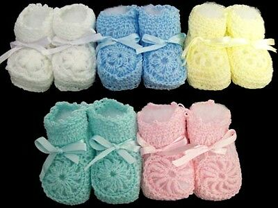 Knitted Crochet Booties - Newborn Size - Asstd Colors 12 Pairs Lot  (E00215-12)