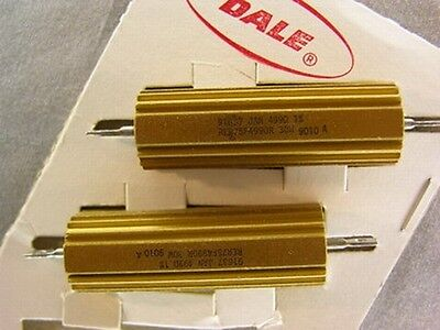 2 Vishay Dale Rer75f4990r 499 Ohm 30w Aluminum Housed Power Resistors