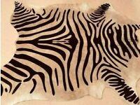 NEW ZEBRA ANIMAL PRINT COWSKIN COW HIDE RUG