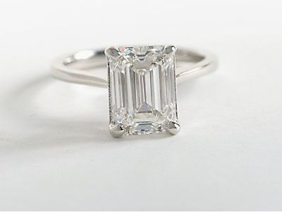 Conflict Free 1.50 ct Emerald Cut Diamond Engagement Solitaire GIA G, VS1 14k WG