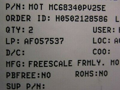 2 Freescale Mc68340ag25e 32bit Mpu Dma Timer Ics