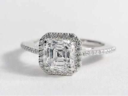 RARE 1.44ct DIAMOND HALO ENGAGEMENT RING White Gold valued $20k+