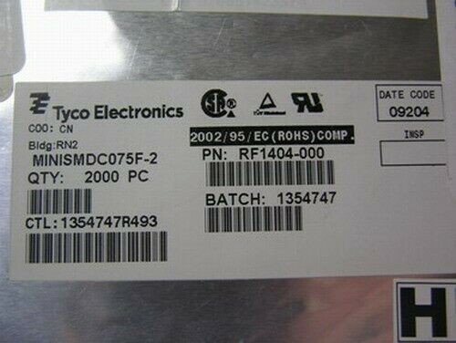 100 Tyco RF1404-000 .75A 13.2V SMT PTC  PolySwitch Resettable Fuses