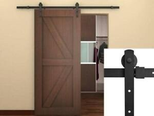 NEW Ediors New 6.6 FT Frosted Black Country Barn Wood Steel Sliding Door Closet, Hardware (Antique) Condtion: New. M...