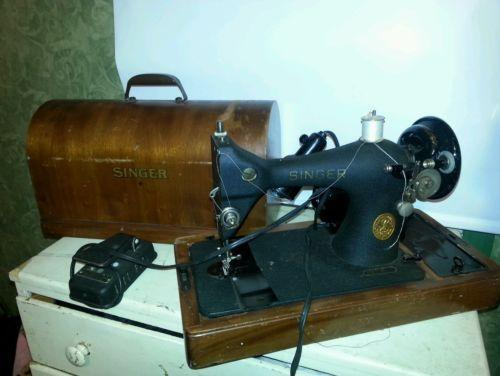 Wooden Sewing Machine Case Ebay
